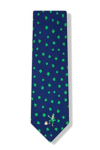 Men's Navy Blue 100% Silk Luck of the Irish St Patrick's Day Good Luck Shamrocks Clovers Novelty Tie Necktie