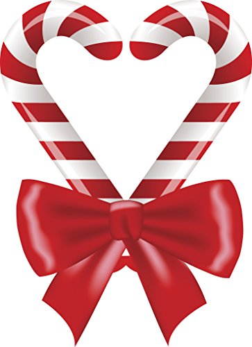 Holiday Christmas Candy Cane Heart with Bow Vinyl Decal Sticker (12