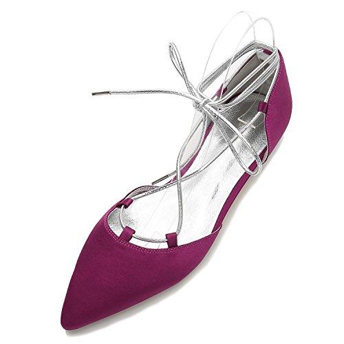 Las del de de Cerrados 5047 pie Red Satén high Bajos Zapatos Vendajes Elegant 22 Mujeres Boda Fiesta shoes Dedos de Fiesta Talones wYT4xXq