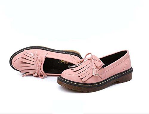 Pump Loafer Ballerina Flats 3cm Thick Bottem Tassel Slip On Zapatos Casual Mujeres Redonda Toe Bowknot Inglaterra Estilo Pure Color Corte Zapatos Eu Tamaño 34-43 Pink