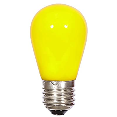 Pack of 6 LED Yellow S14 Ceramic Replacement Christmas Light Bulbs - E26 Medium Nickle Base