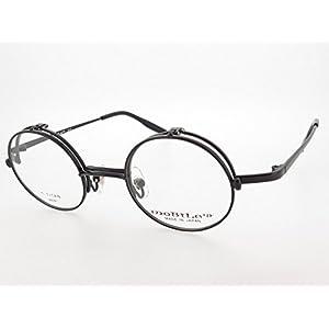 Round single direction flip-up spring hinge titanium eyeglass frames made in Japan (Sabae) Matt Black