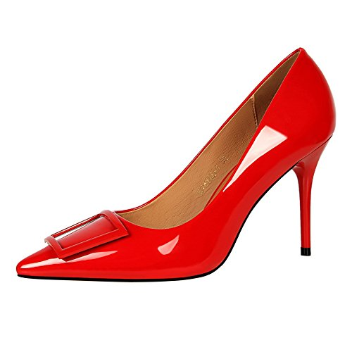 High 39 Belt heels Yellow Red Spring Women'S Heels Shoes Buckle Stiletto Patent Pointed Shoes Green Yukun Leather Shoes Fashion awdxa