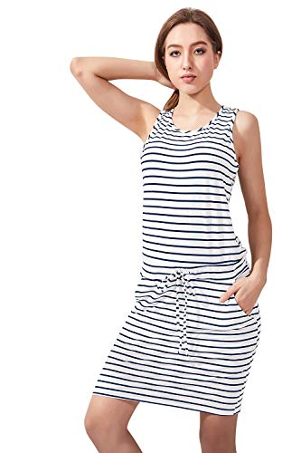 Women's Summer Casual Sleeveless Knee Length Fitted Stripe Dress with Pockets (L(US 8-10),White/Dark Blue)