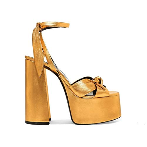 Rex rabbit-SS Fetish Leather High Heel Sandals Thick with Waterproof Platform Nightclub Catwalk Shoes Large Size Shoes,Gold,43