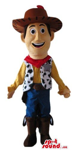 Woody Mascot Costumes (Yellow cowboy Woody cartoon character SpotSound Mascot US costume fancy dress)