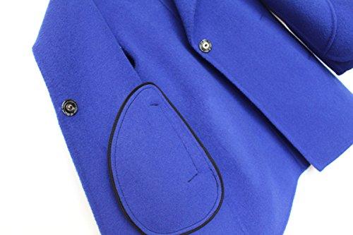 Girls Handmade Coat mid-length Woolen Overcoat Blue by ZYYGL (Image #3)