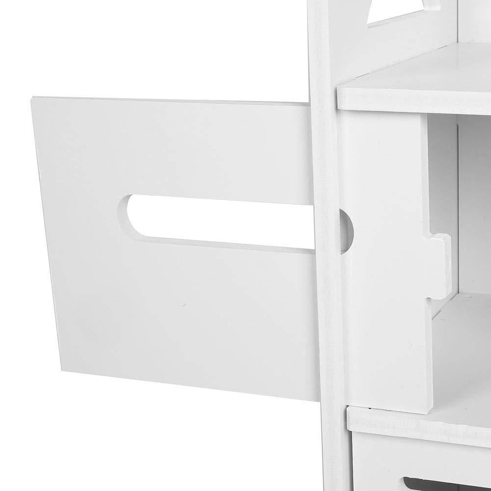 Bianco Mobiletto Salvaspazio,22.5 X 22 X 120 cm lyrlody Mobili da Bagno Armadio Alto,Armadio Alto da Bagno,Colonna da Bagno con 4 Ripiani e 1 Ante in Stile Tapparelle