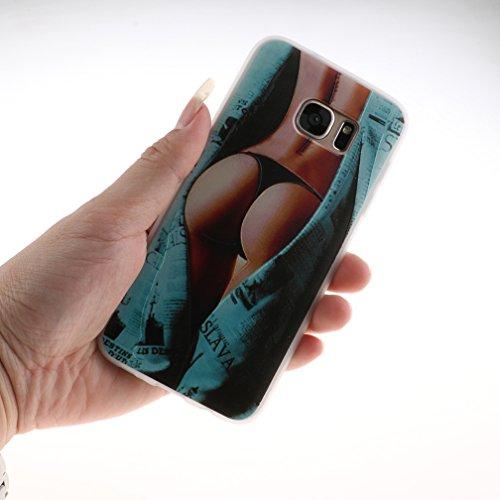 Funda Samsung Galaxy S7 EDGE,XiaoXiMi Carcasa de Silicona TPU Suave y Esmerilada Funda Ligero Delgado Carcasa Anti Choque Durable Caja de Diseño Creativo - Flores de Datura Chicas Sexy