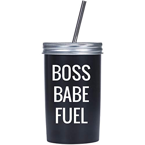 (Mad 2 Order Boss Babe Fuel Black Ceramic Tumbler With Straw; Novelty Drinking Glass from Mad Style )