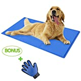 2ME Dog Cooling Mat Cool Summer Pad and Bed Cover Perfect for Floor - Pet Bed - Couch - Car Seat & Kennel – Blue - Bonus Pet Grooming Glove