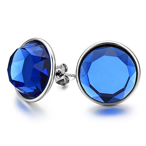 JewelryWe Bijoux 2 Paire Boucles d'oreilles Homme Femme Rond Verre Pin Charms Acier Inoxydable Clous d'oreilles Fantaisie Couleur Argent Blanc Bleu Avec Sac Cadeau