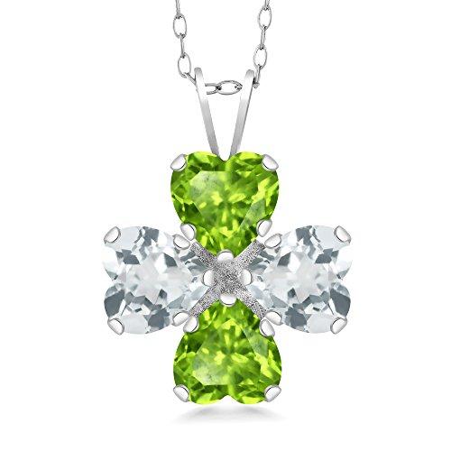 Gem Stone King 3.00 Ct Heart Shape Green Peridot Sky Blue Aquamarine 925 Silver Pendant