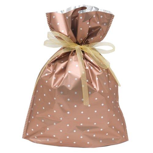 Gift Mate 21062-6 6-Piece Drawstring Gift Bags, Medium, Copper Polka Dot