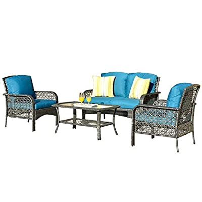 ovios 4 PCs Patio Furniture Sets All Weather Water-Resistant and UV Resistant Rattan Wicker Deep Seating Outdoor Sofa Conversation Set with Cushions,Table (Gray Wicker + Blue Cushion) - 【 Easliy Assembly and 1 year warranty 】Assemble easily and provide assemble video guidance by contacting OVIOS ; Free replacement for damage parts and missing parts.The 4 PCs furniture will be shipped in 2 thicken box and covered by the storage bags to provided the furniture set from missing parts and scratched. ☀☀【High-grade Material】:High quality rustproof galvanized strong steel frame, Rust resistant,durable and not break easily ; Water Resistant,Weather resistant and UV Resistant PE rattan wicker,no colour fading and no breaking after years of exposure ; Water Resistant cushions;Suitable for all weather ,insolation,rainstorms,outdoor and indoor. ☀☀【Exquisite workmanship】:100% Hand-woven Hight quality Rattan Wicker, no breakage;Machine washable zippered cushions cover,no damaged,no split, no crack,no fade,no rot and no deteriorate after a long time - patio-furniture, patio, conversation-sets - 41LvIHV4gKL. SS400  -