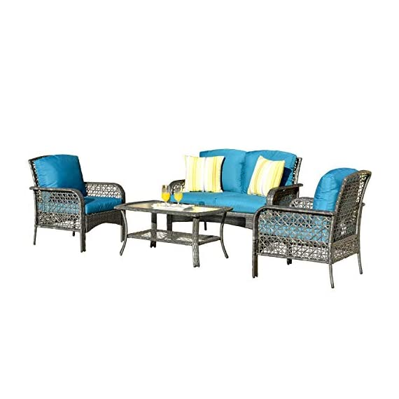 ovios 4 PCs Patio Furniture Sets All Weather Water-Resistant and UV Resistant Rattan Wicker Deep Seating Outdoor Sofa Conversation Set with Cushions,Table (Gray Wicker + Blue Cushion) - 【 Easliy Assembly and 1 year warranty 】Assemble easily and provide assemble video guidance by contacting OVIOS ; Free replacement for damage parts and missing parts.The 4 PCs furniture will be shipped in 2 thicken box and covered by the storage bags to provided the furniture set from missing parts and scratched. ☀☀【High-grade Material】:High quality rustproof galvanized strong steel frame, Rust resistant,durable and not break easily ; Water Resistant,Weather resistant and UV Resistant PE rattan wicker,no colour fading and no breaking after years of exposure ; Water Resistant cushions;Suitable for all weather ,insolation,rainstorms,outdoor and indoor. ☀☀【Exquisite workmanship】:100% Hand-woven Hight quality Rattan Wicker, no breakage;Machine washable zippered cushions cover,no damaged,no split, no crack,no fade,no rot and no deteriorate after a long time - patio-furniture, patio, conversation-sets - 41LvIHV4gKL. SS570  -
