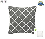 FBTS Prime Outdoor Decorative Pillows with Insert Grey Patio Accent Pillows Throw Covers 18x18 inches Square Patio Cushions for Couch Bed Sofa Patio Furniture