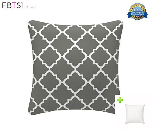 FBTS Prime Outdoor Decorative Pillows with Insert Grey Patio Accent Pillows Throw Covers 18x18 inches Square Patio Cushions for Couch Bed Sofa Patio Furniture by FBTS Prime