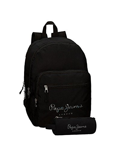 Pépé Jeans black backpack with pencil case (Jeans Taille De)