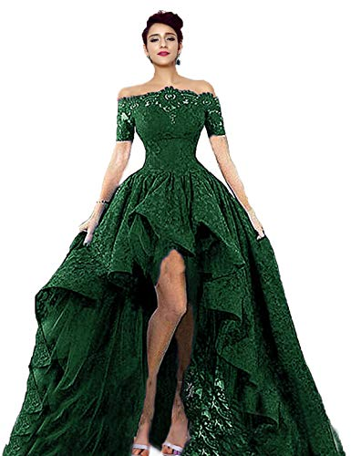 Diandiai Women's Hi-Lo Prom Dress Short Sleeve Lace Green Evening Dress Black Off The Shoulder Maxi Dress 6 Black Off Shoulder Lace Corset