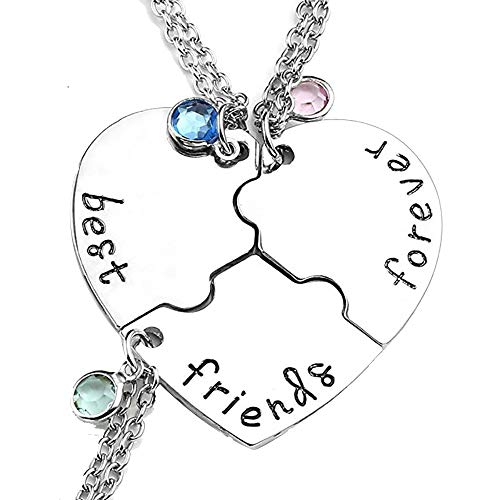 Boormanie (3 Pcs) Best Friend Necklaces for Women, Fashion Crystal BFF Necklace for 3 Puzzle Pendant