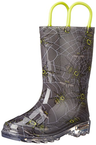 Western Chief Spider Prey Light-Up Rain Boot (Toddler/Little Kid/Big Kid), Charcoal, 8 Toddler