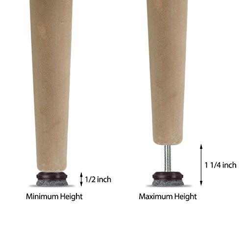 Furniture Levelers- Adjustable felt-bottomed pads for table, chair, and furniture legs-Pack of 8 with durable metal T-nut-Heavy Duty threaded furniture glides- Hardwood floor protectors- leveling feet by K-DUB Supply (Image #4)