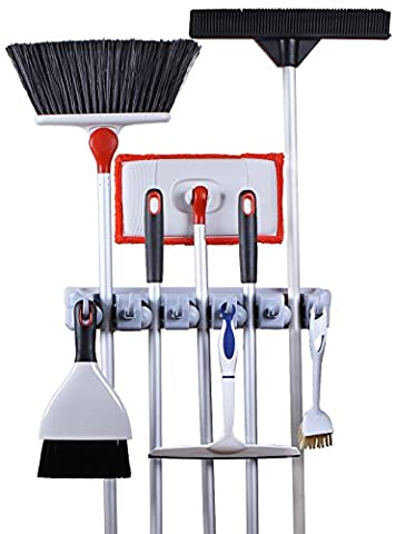 Greenco Mop and Broom Organiser, Wall and Closet Mount Organizer Rack, Holds Brooms, Mops, Rakes, Garden Equipment, Tools and More, Contains 5 Non-slip Automatically Adjustable Holders and 6 - Adjustable Rake