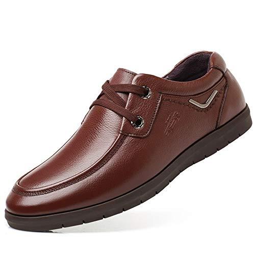 Informal Marrón Genuino Derby Cuero Head Negocio Zapatos Formal Round para Hombre de Tip U nUawOYqR