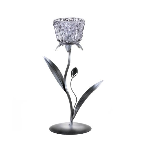 Home Locomotion - Silvery Glass Bloom Candleholder (pack of 1 EA)