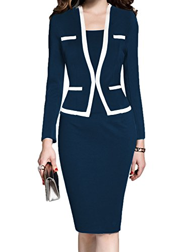 MUSHARE Women's Colorblock Wear to Work Business Party Bodycon One-Piece Dress (Navy Blue, XX-Large) ()