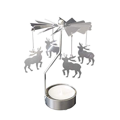 Candle Holders - Romantic Rotation Candlestick Metal Candle Holder Rotary Spinning Carousel Angles Light Chriatmas - Electric Mercury Elephant Animal Dragons Holder Himalayan Works Metal La ()