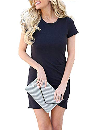Navy Tulip Hem Dress - Women's Short Sleeve Bodycon Dresses - Sexy Ruched Tulip Hem Sheath Mini Dresses X-Large Navy