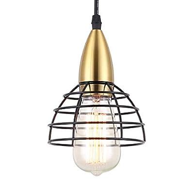 Pendant Light,Black Cage Pendant Lighting for Kitchen Island,Brass Finish,Industrial Hanging Light Fixtures for Bathroom,Living Room,Bedroom and Hallway,Foyer