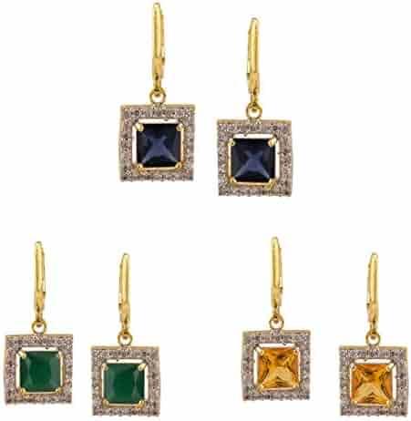 3897874d6 Efulgenz 14 K Gold Plated Hypoallergenic Halo Cubic Zirconia Drop Hoop Clip  On Earrings Set of
