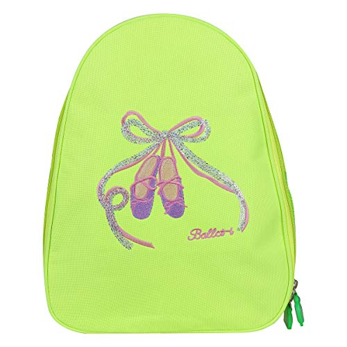 (Agoky Kids Girls Ballet Shoes Bowknot Embroidered Tote Dance Backpack School Bags Green 12.5 x 5.0 x 10.0 inch )