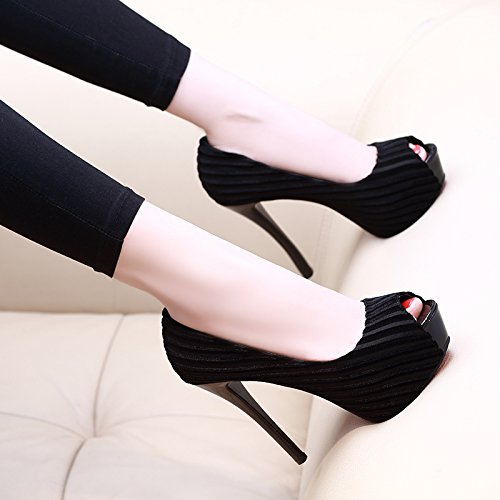 Fine black Heel Super High AGECC 12Cm with Waterproof Fish Noodles Table Silk Mouth Shoes wqaTCY4H