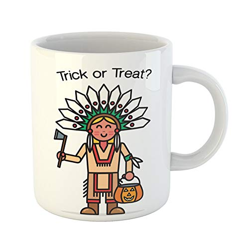 Emvency Coffee Tea Mug Gift 11 Ounces Funny Ceramic Halloween Cute Little Blonde Girl Trick Treating Dressed in Indian Native Gifts For Family Friends Coworkers Boss Mug ()