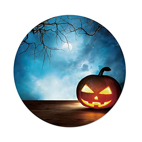 iPrint Polyester Round Tablecloth,Halloween,Traditional Celebration Icon Pumpkin on Wooden Board Fantasy Midnight Sky Trees,Multicolor,Dining Room Kitchen Picnic Table Cloth Cover,for Outdoor Indoor -