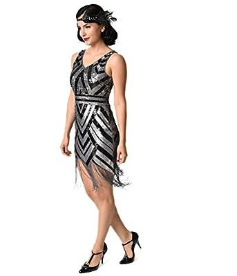 Unique Vintage Vintage 1920s Style Black & Silver Sequin Beaded Deco Short Fringe Flapper Dress