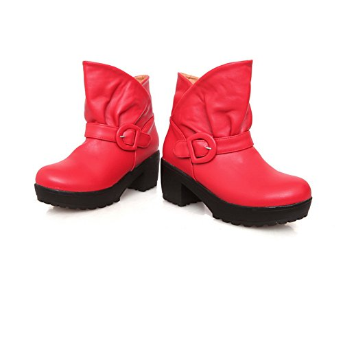 Kitten B Red Solid Short Boots 7 PU Toe Chunky Heels M Plush with Round Heels Closed AmoonyFashion Womens US n6CIa