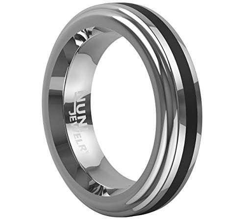 - Tungsten 6mm Ring Center Black Onyx inlay stripe Wedding Band Comfort Fit ZION VL21 Nuni Jewelry (7)