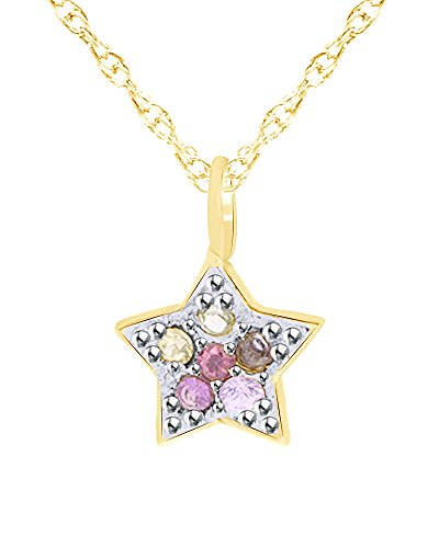 Wishrocks Round Cut Simulated Multi Gemstone Star Pendant Necklace in 14K Solid Yellow Gold ()