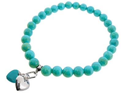 Earth - Blue Turquoise heart and Sterling Silver Heart on Blue Turquoise Beaded Stretch Bracelet - from the Earth Collection eWw2z