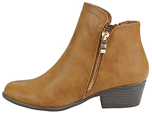Zipper Women 28 Faux Tan Side Decor Heels Leather Out Boots Ankle Chunky Cut Buckle Back Slanted tZnzqrw6t