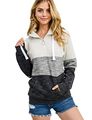 Women's Basic Tri-Color Fleece 1/4 Zip Pullover Sweatshirt, Oatmeal, X-Small