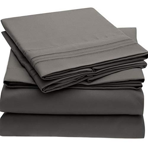 Green Foster Product Bed Sheet Set Brushed Microfiber 1800 Bedding - Wrinkle, Fade, Stain Resistant - 5 Piece (Split King, Gray) | Style FTGH570