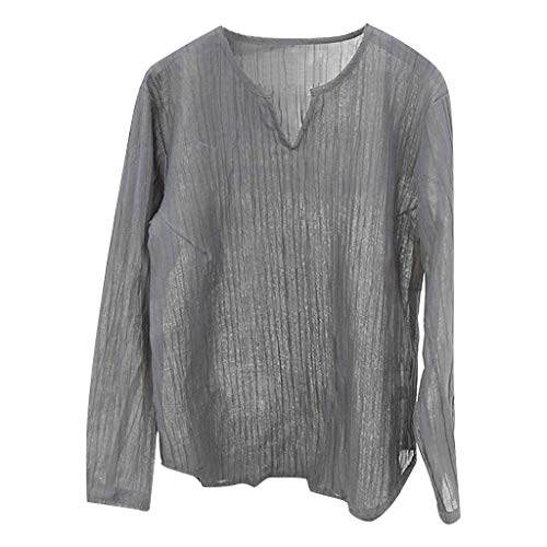 (Letdown_Men tops Men Cotton Linen Shirts,Mens Brief Breathable Comfy Solid Color Long Sleeve Loose Casual T Shirt)