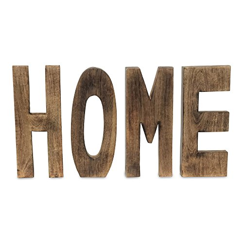 Whole House Worlds The Farmer's Market HOME Wooden Word Art, Free Standing, Hand Carved, Solid Mango Wood, Honey Color Stain, Light Wax Finish, Each Over 1 Ft Tall (12 3/4 Inches) By - Freestanding Sculpture