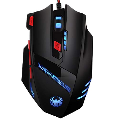 Criacr (New) Gaming Mouse Wired, 9200 DPI High Precision, Comfortable Grip, 6 Adjustable DPI 1000-9200 + 8 Adjustable Weights + 6 Changing LED + 8 Buttons for Laptop, PC, MacBook, Computer
